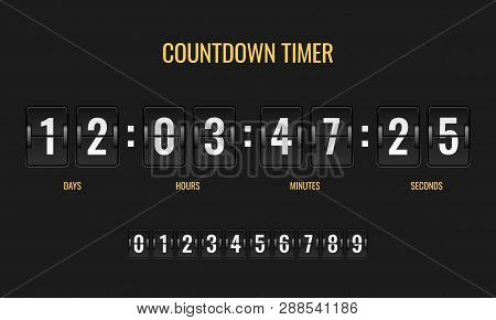 Countdown Timer. Meter Scoreboard Digital Watch Mechanics Counter Information Down Number Counting C