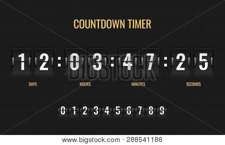 Countdown Timer. Meter Scoreboard Digital Watch Mechanics Counter Information Down Number Counting C