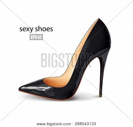 Beautiful Female Black Shoes On A White Background, Sexy Shoes, Classic. High-heeled Shoes, Patent L