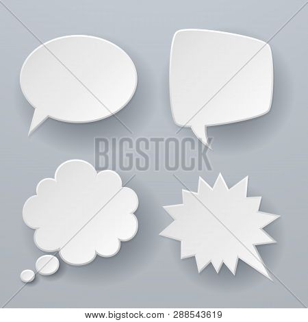 Paper Speech Bubbles. White Origami 3d Retro Clouds Thought Chat Or Dialogue Text Message Balloon Ve