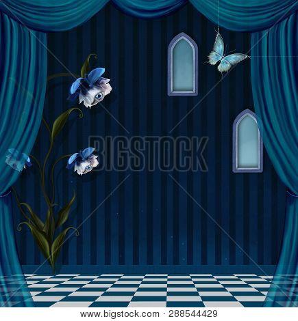 Nocturne blue stage with a surreal flower lamp - 3D illustration poster