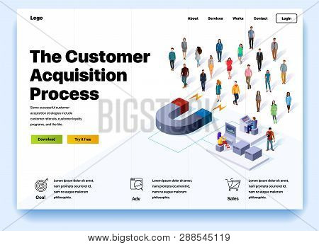 Website Providing The Service Of The Customer Acquisition Process. Concept Of A Landing Page For Cus