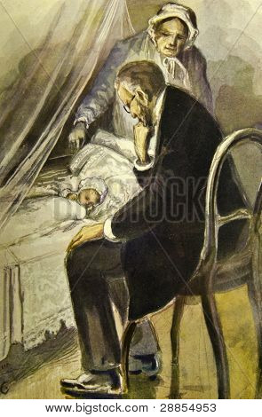 Father sitting at the bedside of his daughter. Illustration by artist Zahar Pichugin from book