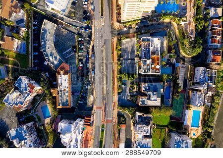 Aerial City View With Roads, Houses, Buildings, And Parking Lots. Limassol, Cyprus.