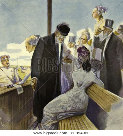 The old gentleman talking to the girl. Illustration by artist Zahar Pichugin from book