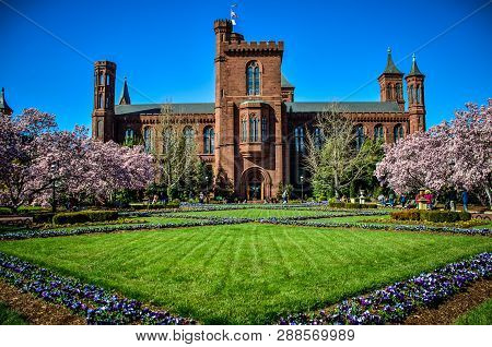 Washington Dc - May 1, 2018: Flowering Magnolia Blossom Trees And Gardens Frame The Smithsonian Cast