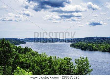 The Connecticut River Flowing Through East Haddam Near Gillette Castle State Park In New London Coun