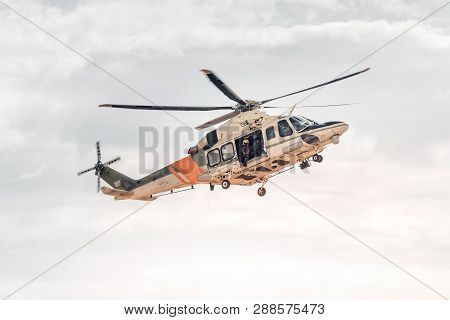 Rescue Team With Helicopter. Emergency Accident Service.