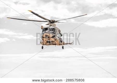 Rescue Helicopter In The Sky During The Emergency Flight.