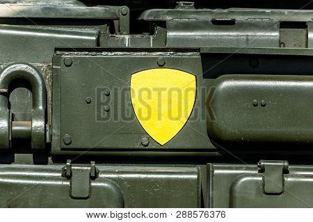 Side Of Green Metal Military Vehicle. Closeup
