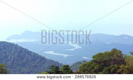 Kedah, Langkawi, Malaysia - Apr 09th, 2015: View From The Top Of Gunung Raya Mountain