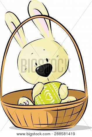 Cute Easter Bunny Hold Egg Sitting In Basket - Vector Illustration Isolated On White