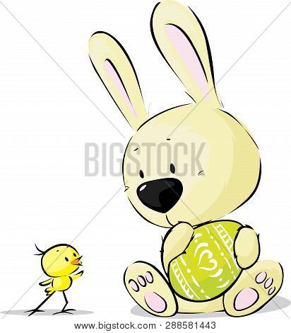 Easter Bunny With Egg And Chicken - Vector Illustration
