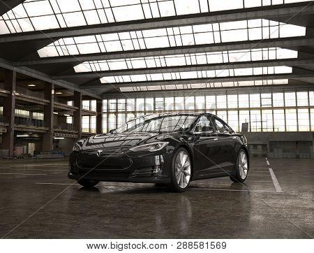 Almaty, Kazakhstan February 28, 2019. Tesla Model S On Industrial Background. Electric Car. 3d Rende