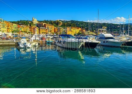 Amazing Mediterranean Harbor And Cityscape With Luxury Boats. Expensive Yachts And Colorful Mediterr