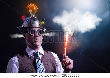 Distraught Looking Conspiracy Believer In Suit With Aluminum Foil Head With Chemtrails Cloud Chemtra