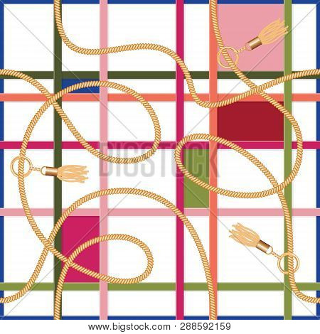Belts, Chains And Tassels Geometric Seamless Pattern. Colorful Trendy Print For Fabric, Scarf, Crava