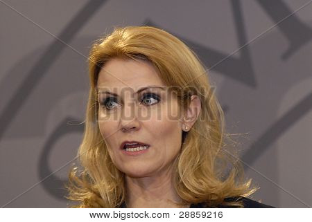 DENMARK / COPENHAGEN _Ms.Helle Thorning_Schmidt danish first female prime minister holds Danish presidency of the council of the European Union Commission holds her weekly press meeting at Christiansborg Mirrior Hall priem minister office building today o
