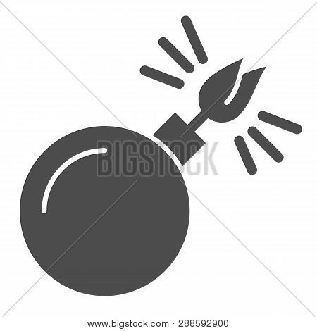 Black Sphere With Cord Lit Solid Icon. Bomb With Lit Wick Vector Illustration Isolated On White. Boo