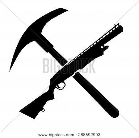 Pick And Shotgun, Fortnite Concept Game. Vector Illustration. Battle Royale Game. Fortnite Logo