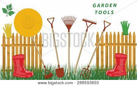 Garden Tools, Palisade, Straw Hat, Red Rubber Boots, Green Lawn - Isolated On White Background - Vec