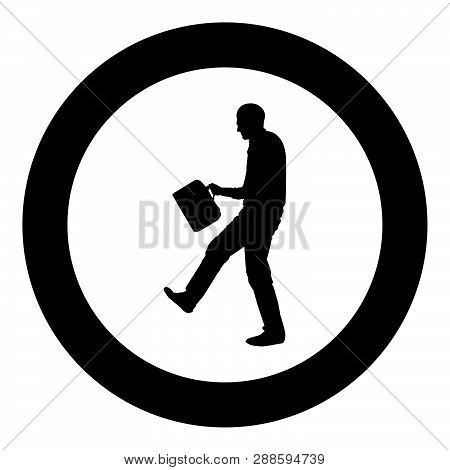Cheerful Man With A Briefcase Concept Success Win Successfull Bussines Man Icon Black Color Vector I