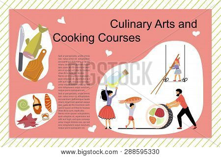 Culinary Art And Cooking Courses Poster, Banner Template In Flat. Happy Family Cooking Together A Sa