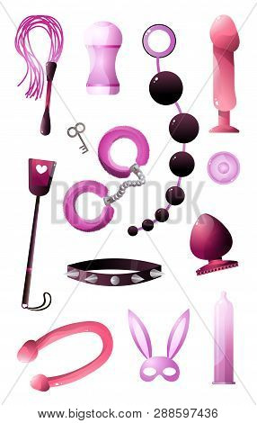 Sextoys Set For Bdsm And Incising Pleasure Isolated On White Background