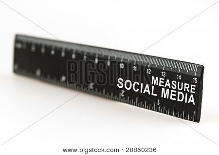 Measure social media on black ruler