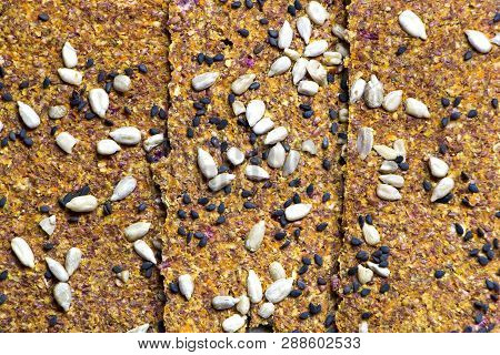 Dried Vegan Bread Background. Raw Foods.