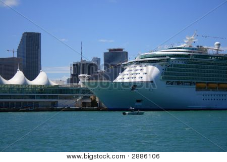 Miami port with cruiseship