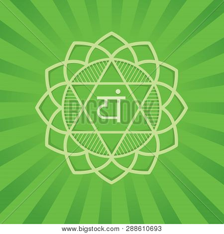 Anahata - The Fourth Primary Chakra. Vector Square Flat Illustration, Poster, Label, Banner - For Yo