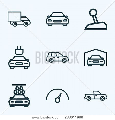 Car Icons Line Style Set With Speedometer, Crossover, Truck And Other Washing Elements. Isolated Vec