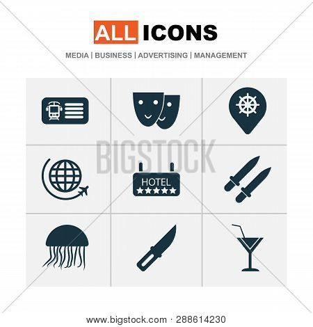 Journey Icons Set With Mask, Train Ticket, Swords And Other Entry Elements. Isolated  Illustration J