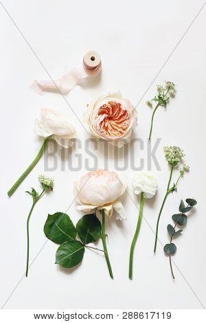 Summer Botanical Floral Composition. Apricot English Roses, Ranunculus, Astrantia Flowers, Eucalyptu