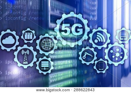 5g Network, 5g Internet Connection Concept In Digital Background. Smart Communication Network Concep