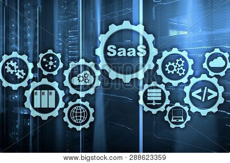 Software As A Service Saas. Software Concept. Modern Technology Model On A Virtual Screen Server Roo