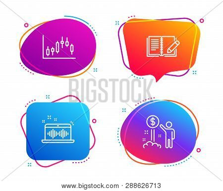 Feedback, Music Making And Candlestick Graph Icons Simple Set. Income Money Sign. Book With Pencil,