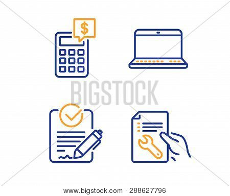 Rfp, Notebook And Calculator Icons Simple Set. Repair Document Sign. Request For Proposal, Laptop Co