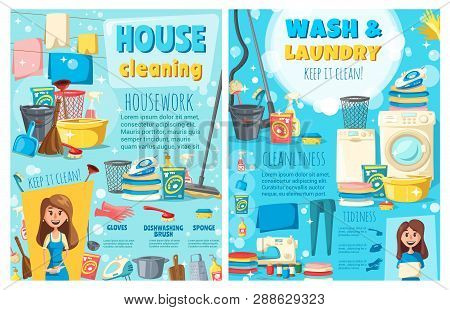 House Cleaning And Laundry Service, Maid Or Housewife. Vector Electric Appliances, Washing And Sewin