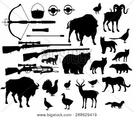 Animals And Birds Silhouettes, Hunting Sport Equipment Icons. Crossbow And Gun Or Rifle, Lighter And