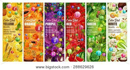 Color Diet Vitamins, Vegetables And Fruits. Vector Durian And Pineapple, Papaya And Pumpkin, Beet An
