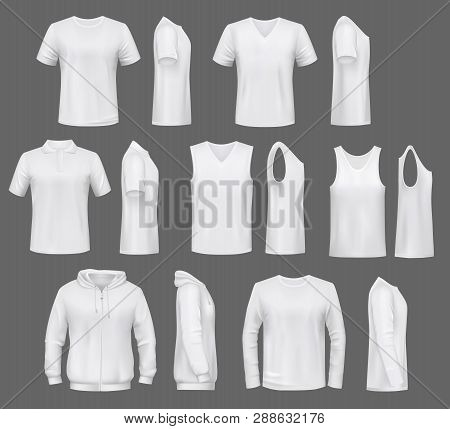 Male Fashion, T-shirt Templates With Hoodie And Sweatshirt, Polo And Singlet Or Sleeveless Shirt. Ve