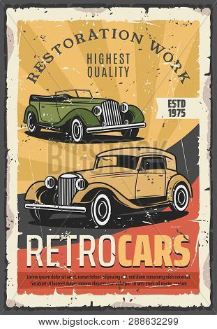 Retro Cars Show Or Vehicle Exhibition. Vector Vintage Transport Museum, Restoration Works, Old Cabri