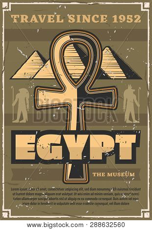 Travel To Egypt, Great Pyramids And Coptic Cross. Vector Ancient Gods Silhouettes, Ra And Anubis, Hi