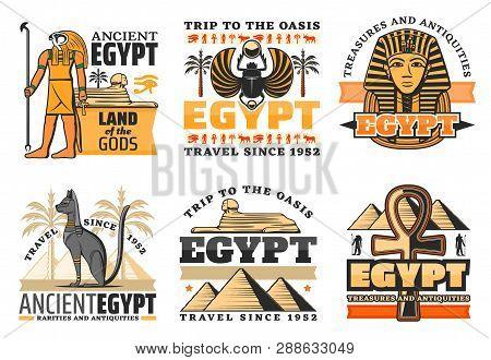 Egypt Travel Icons, Egyptian Gods And Landmarks. Vector Great Pyramids And Sphinx, Ra And Pharaoh Ki