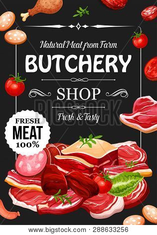 Meat Products And Sausages With Seasonings, Butchery Shop. Vector Beef Raw Filet And Steak, Pork Bac
