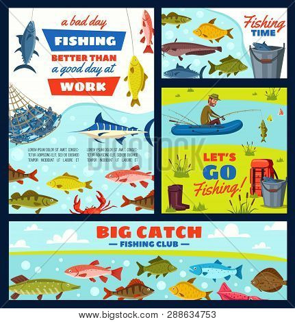 Fishing Sport Tours, Fisherman And Tackles, River And Sea Fish. Vector Boat And Rod, Backpack And Gu