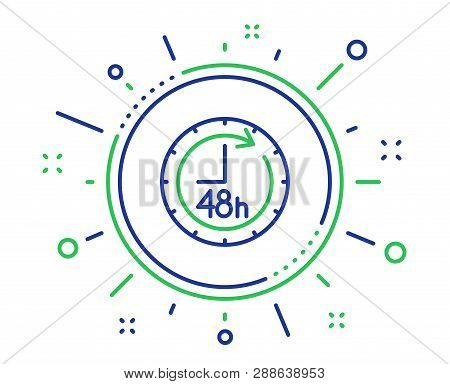 48 Hours Line Icon. Delivery Service Sign. Quality Design Elements. Technology 48 Hours Button. Edit
