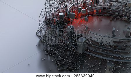 Abstract 3d Rendering Of Chaotic Objects. Concept Design Abstract Architecture Or Space Station